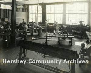 Hershey Vocational School offered a wide variety of training programs for boys and girls. Metal shop, ca. 1940