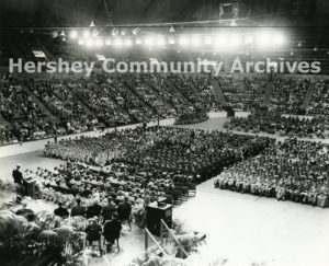 During the town's 50th anniversary, Derry Township Public School and Milton Hershey School held a joint high school graduation ceremony in the Hershey Arena, 1953