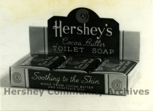 Counter displays such as this helped to promote Hershey's Cocoa Butter Soap. Counter Display, ca. 1938-1952
