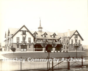 Hershey's Y.W.C.A. was located across from the railroad station. Photograph, 1913