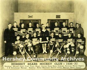 Hershey Bears ice hockey team with ice skater Sonja Henie. January 18, 1937