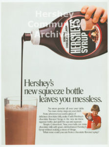 Hershey began packaging its chocolate syrup in 24 oz. plastic containers in 1979.
