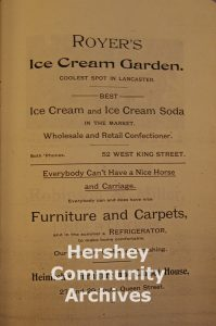 Advertisement for Joseph Royer's Ice Cream Parlor and Garden, Lancaster, PA, ca. 1870