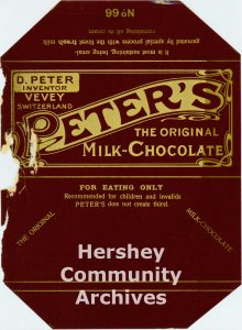 Peter's Milk Chocolate bar wrapper, ca. 1903-1905