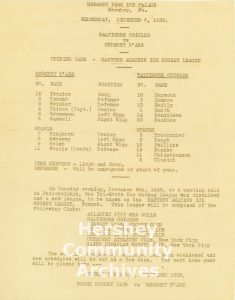This Hershey B'ars program includes an announcement of the formation of the EAHL. December 13, 1933