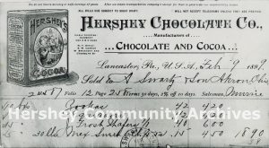 Early Hershey Chocolate Company invoice. February 9, 1899