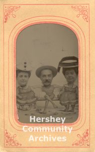 Milton and Catherine Hershey pose with friend Adeline Jackson (on left) at Coney Island, ca. 1910