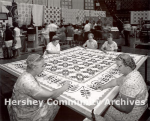"""Hershey Park Arena showcased a wide variety of Pennsylvania """"Dutch"""" crafts such as quilting, ca. 1966"""