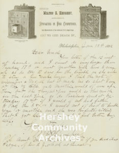 Milton wrote to his Uncle Abraham Snavely, requesting a loan to help him pay his bills in January 1882.