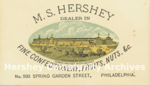 Trade card from Milton Hershey's first business, Philadelphia, PA, ca. 1876