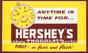 In-store advertising placard for Hershey's Chocolate, 1955