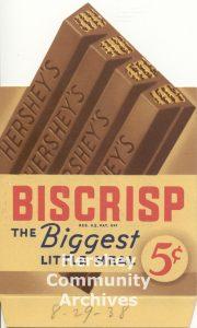 Hershey's Biscrisp bars were introduced in 1938.