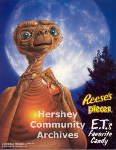 Reese's Pieces was E.T.'s favorite candy. Promotional poster, 1982