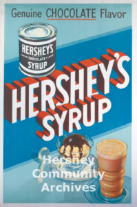 Hershey Chocolate used point of purchase posters such as this one to promote their products in stores. ca. 1930-1940