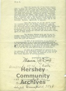 In 1928 Milton Hershey hired golf architect, Maurice McCarthy to design two golf courses for Hershey. page 2 of 2