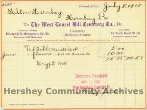 Catherine Hershey was interred at The West Laurel Cemetery Receiving Vault between 1915 and 1919.