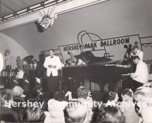 Guy Lombardo and his Royal Canadians perform to a standing room only crowd at Hershey Park Ballroom, July 4, 1953