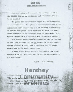 Team Work Sells the Hershey Idea, memo issued to all Hershey employees, 1938