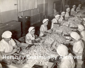 Hershey Chocolate Factory, packing Kisses chocolates by hand, March 1937