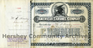150 shares of American Caramel Company stock owned by Milton S. Hershey.