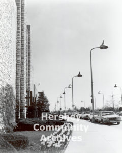 Hershey's unique streetlights, shaped like Kisses chocolates, can be found all along Chocolate Avenue. ca. 1970-1973