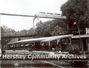 Monorail passes over the Hershey Park Turnpike ride. ca. 1969