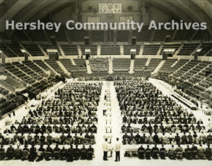 """Homeowners gathered in the Arena for a """"farm to table"""" celebration in honor of Milton Hershey's birthday on September 13, 1939."""