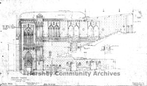 Original drawing by architect C. Emlen Urban, Hershey Theatre, auditorium outer wall elevation, December 30, 1931
