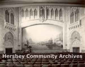 Hershey Theatre stage, fire curtain visible, 1934