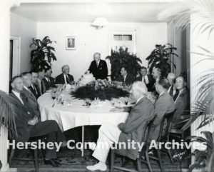 Senior staff gathered to celebrate Milton Hershey's 88th birthday on September 13, 1945.