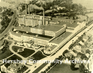 Aerial view of Hershey Chocolate Factory, ca. 1920-1925