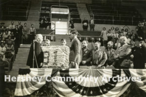 Hershey Industrial School students presented Milton Hershey with a floral tribute. September 13, 1938