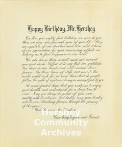 Employees presented Milton Hershey with a proclamation on the occasion of his 81st birthday in 1938.