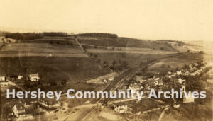 Aerial view of Derry Church, looking north. Note location of Derry Presbyterian Church in right hand corner. ca. 1924