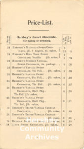 Page from the Hershey Chocolate Company sales catalog, 1900