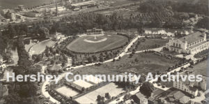 Aerial view, Hershey Park, including Athletic Field, Convention Hall, tennis courts, swimming pool, Spring Creek, ca. 1915