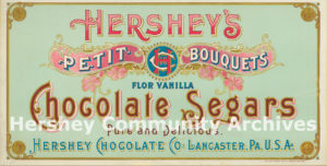 Early Hershey Chocolate Company product packaging often featured the company's first trademark, an intertwined H-C-Co, ca. 1896-1900