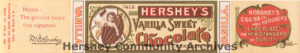 Until 1910, the cocoa bean baby held a chocolate bar when featured on Hershey's confectionery products, ca. 1898-1904