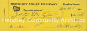 Mr. Hershey's cancelled check to the White Star Line for a deposit for his passage on the Titanic, 1911