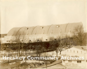 At the time of its construction, Hershey Sports Arena was the largest monolithic concrete structure in the United States. ca. 1940