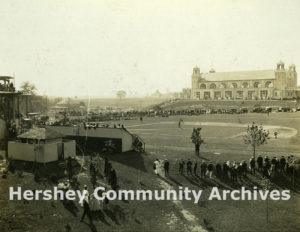 Hershey athletic field with Convention Hall in background, 1915