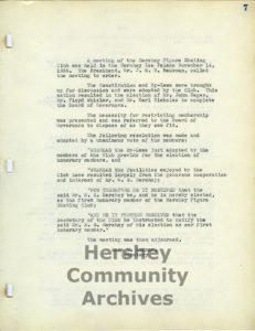 Hershey Figure Skating Club minutes, November 14, 1935