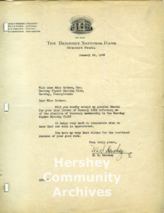 Milton Hershey's letter to the Hershey Figure Skating Club thanking them for the honor of being made a member of the club. January 22, 1936