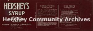 Hershey's Syrup label, 18 oz., 1933